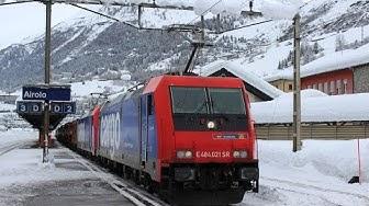 Bahnverkehr am Gotthard | Schneesturm in Airolo