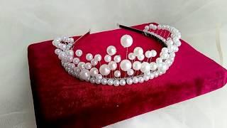 Диадема. Корона.Тиара. Из белого жемчуга и проволоки. Невероятная красота.