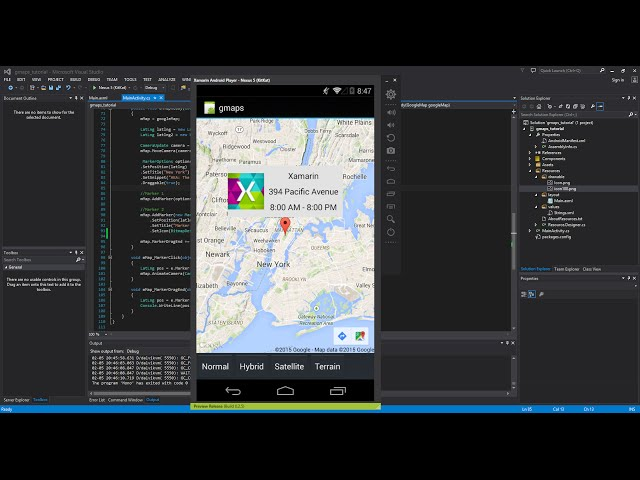 Xamarin Android Tutorial   43   Google Maps - Info  Windows