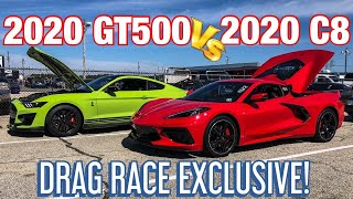 1ST C8 CORVETTE VS 2020 GT500 DRAG RACE!*EXCLUSIVE*