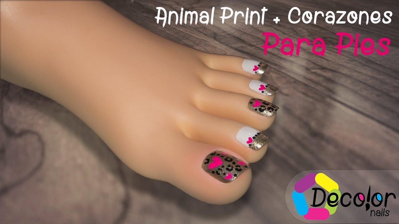 Decoración de Uñas para Pies con Animal Print y Corazones