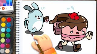 a cake running away | with fat rabbit | Drawing & Coloring for Kids