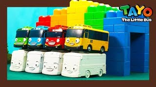 Learn colors with Heavy Vehicles   Rainbow bridge l Heavy Vehicles Lego Play l Tayo the Little Bus