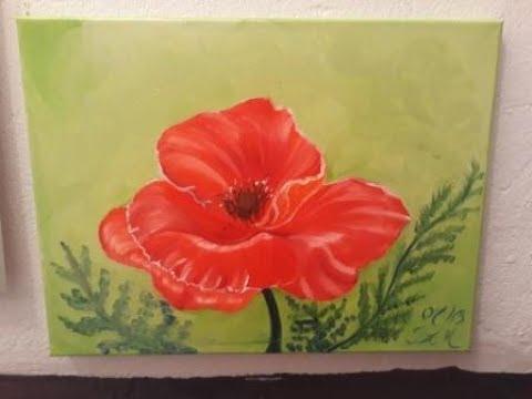 Rote Mohnblume Malen Mit ölfarben Malen Für Anfänger Und