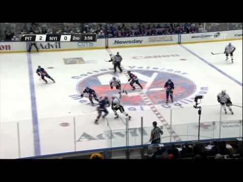 Simon Despres goal Feb 5 2013 Pittsburgh Penguins vs NY Islanders NHL Hockey