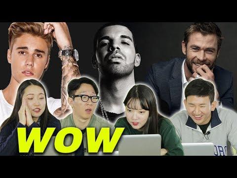 Koreans react to popular male celebrities in America [Korean Bros]