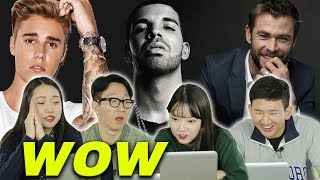 Koreans react to popular male celebrities in America [Korean Bros]