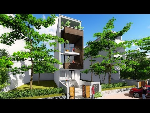 Sketchup 4 stories Narrow House design House size 4,4x16m