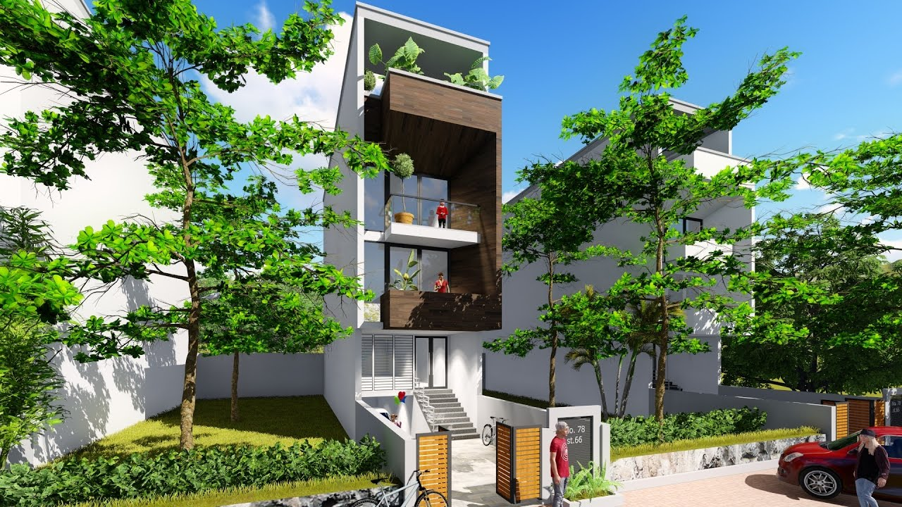 House Plan Small Home Design: Sketchup 4 Stories Narrow House Design House Size 4,4x16m