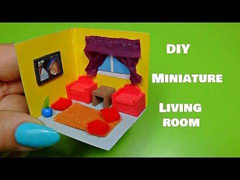 Diy miniature living room - NO kit│Miniature room tutorial │ Doll Stuff