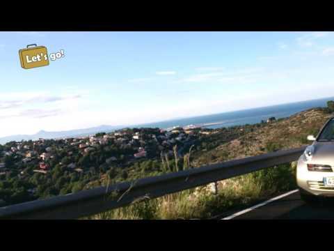 Mountain road in Denia, Spain. Car view