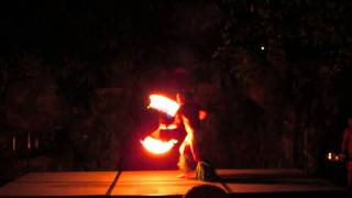 Samoan Fire Knife dancer at 4 Seasons Wailea