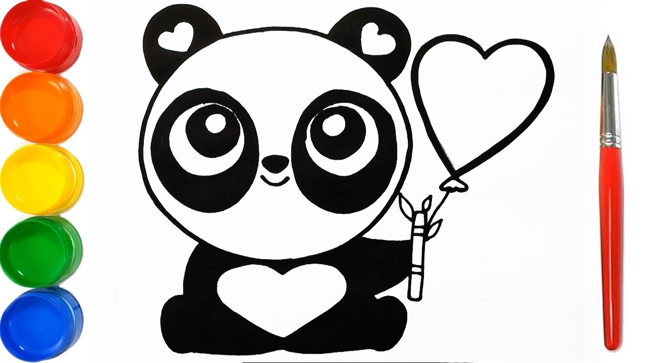 Como Dibujar Y Pintar Panda De Corazones Dibujos Faciles Para Niños Learn Colors Funkeep Art Youtube