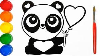Como Dibujar y Pintar Panda de Corazones - Dibujos Faciles Para Nios - Learn Colors  FunKeep Art
