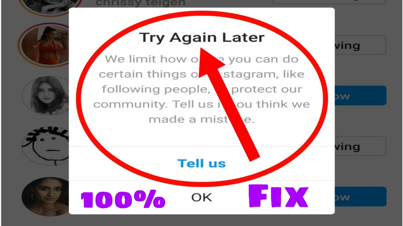 Instagram try again later problem | Instagram tell us problem | 100% Fix