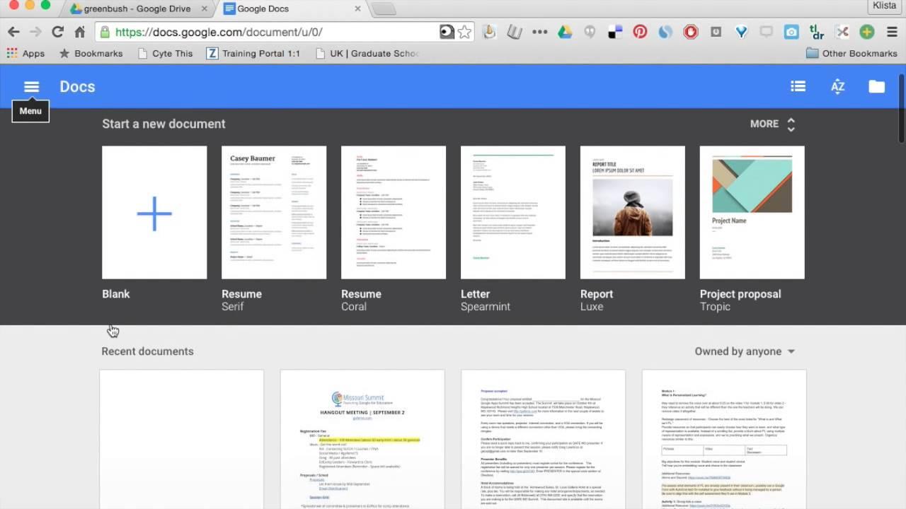 google docs templates youtube