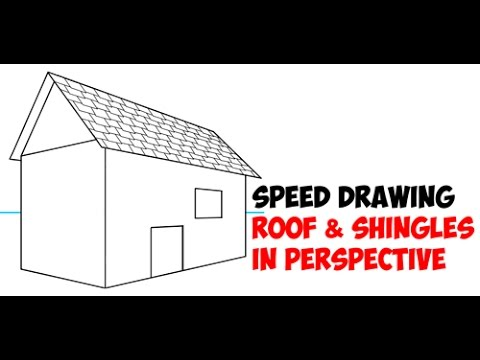 Speed Drawing How To Draw A Roof With Shingles Using 2 Point Perspective Quick Drawing