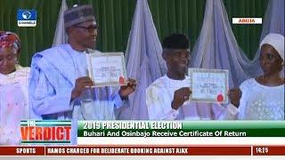 Presidential Elections: Buhari, Osinbajo Receive Certificates Of Return