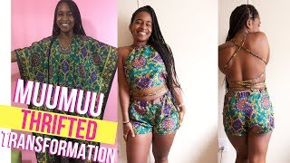 HOW I MADE A 2 PIECE OUTFIT FROM A MUUMUU?! $6 Thrifted Transformation