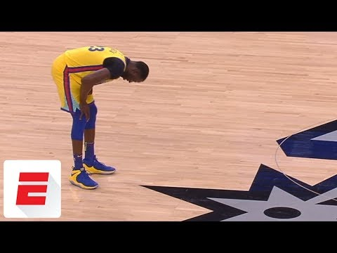 Draymond Green leaves game after taking shot to groin area | ESPN