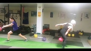 One Arm Kettlebell Swing to Lunge Demonstration