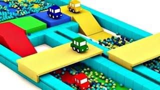 Cuatro COCHES coloreados. La pista de carreras para los COCHES. Dibujo animado de carros para niños