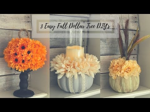 DIY DOLLAR TREE FALL PUMPKIN FLORAL DECOR| 3 EASY & BUDGET FRIENDLY IDEAS