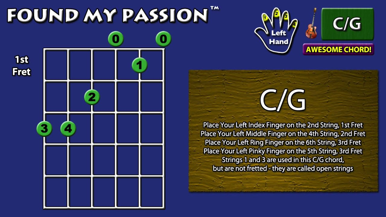 Awesome Sounding Guitar Chord Cg 3 3 2 0 1 0 Youtube
