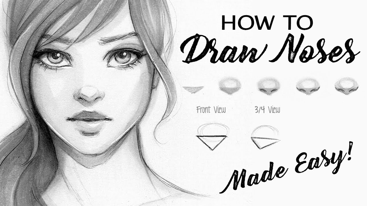 How To Draw A Nose Step By Step Tutorial Youtube
