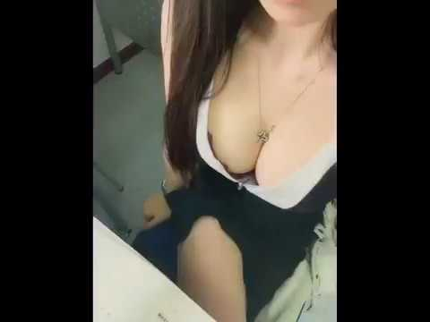 Sexy Asian Studying Downblouse