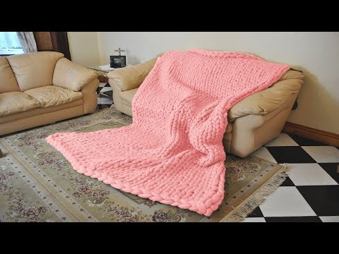 Chunky Knit Blanket (No Shedding Hack Included) Hand Knitting Tutorial