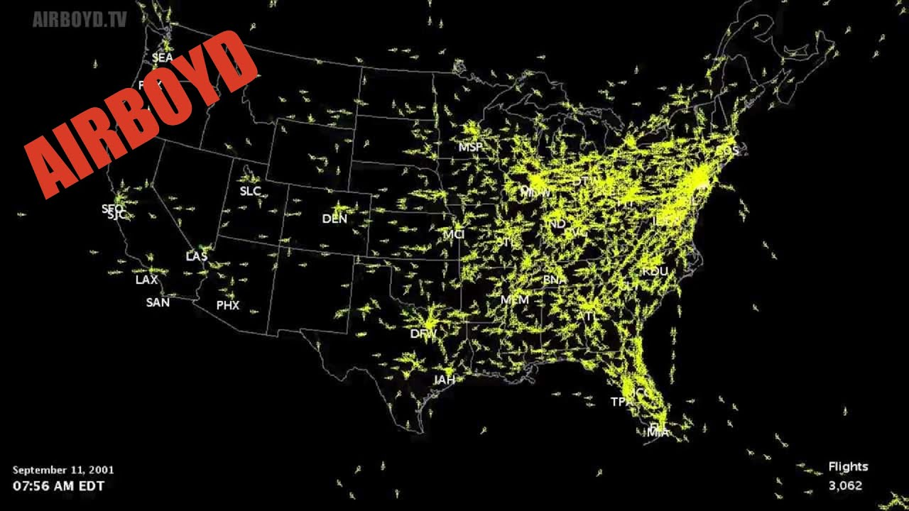 Air Traffic Map Live.September 11th 2001 Airspace Shutdown With Timeline Youtube