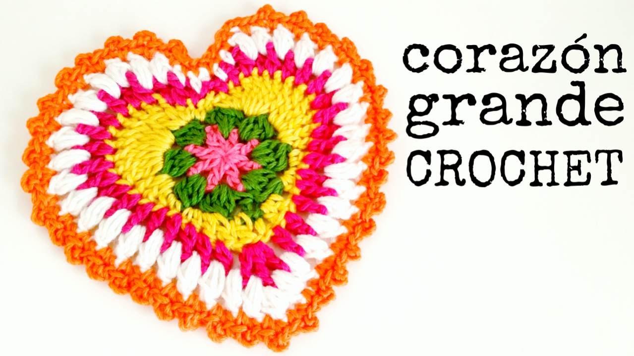 Corazón Grande a Crochet - Paso a Paso - YouTube