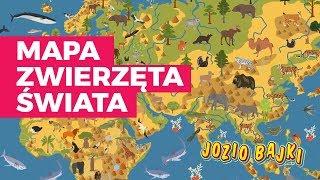 Mapa Zwierzęta Świata dla dzieci 🗺️🐅🦏🧒 | Józio Bajki