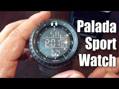 PALADA Outdoor Waterproof Sport Arc-shaped Glass LED Digital Watch
