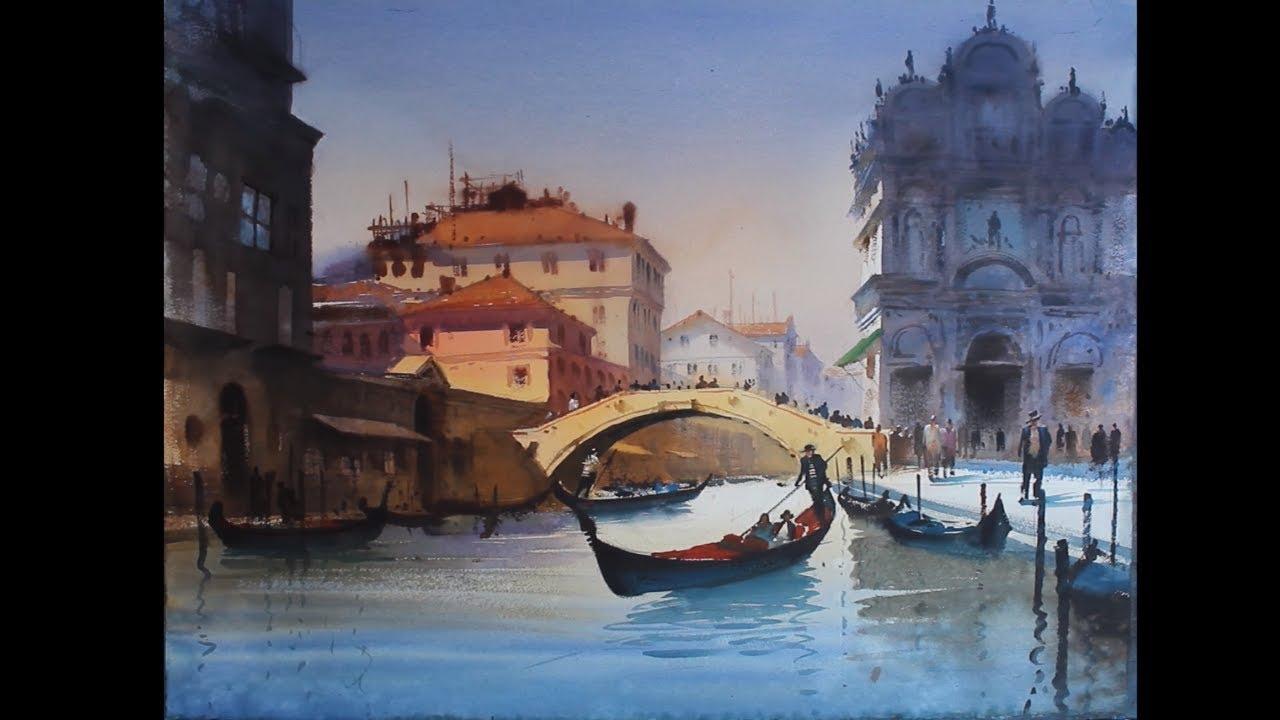 Watercolour Landscape Painting Beauty Of Venice 2