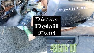 Detailing The Dirtiest Stationwagon Interior Ever! First Interior Detail in 40 Years!