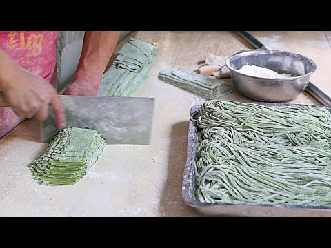 Thumbnail: Xian Street Food - Making Chinese Spinach Noodles
