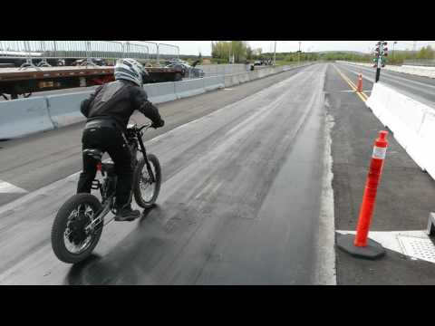 16000W ELECTRIC BICYCLE drag Racing 16.3s 1/4 mile 70mph run 3