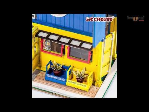 iiecreate K-039 Hello Summer DIY Dollhouse With Music Cover Light Wooden Doll House