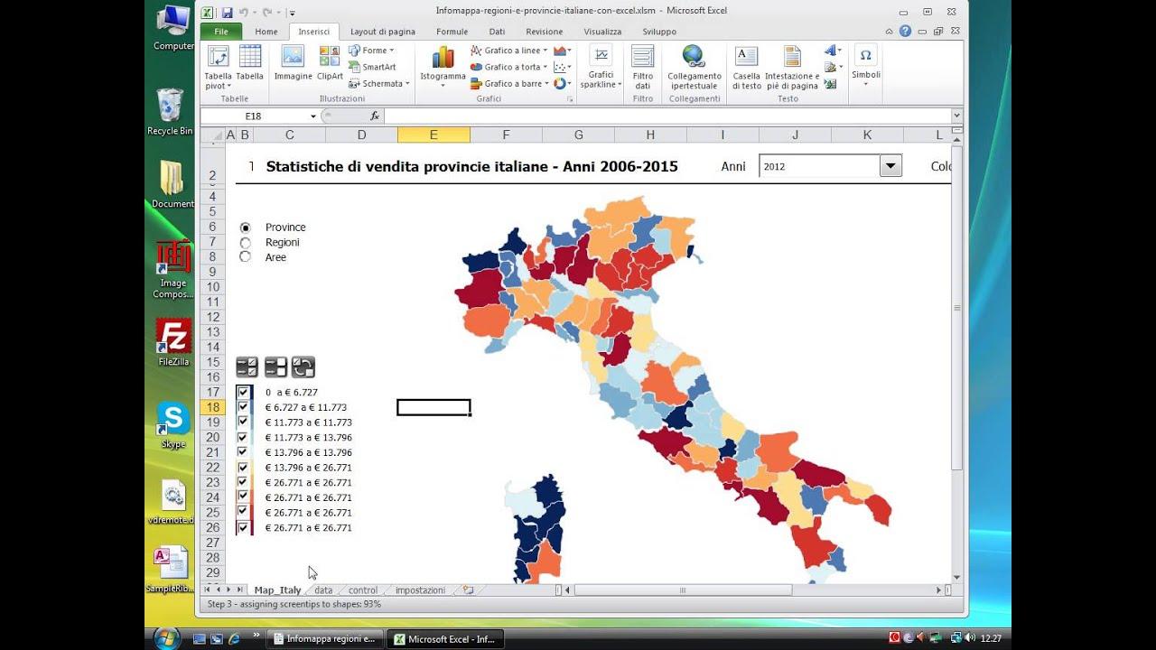 Cartina Italia Interattiva Html.Info Mappa Regioni E Province Italiane Con Excel Youtube
