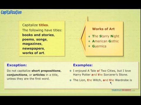 Grammar Video for Kids Learning to Capitalize Titles - YouTube