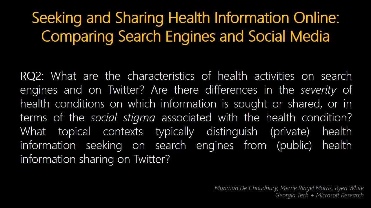 Seeking and sharing health information online
