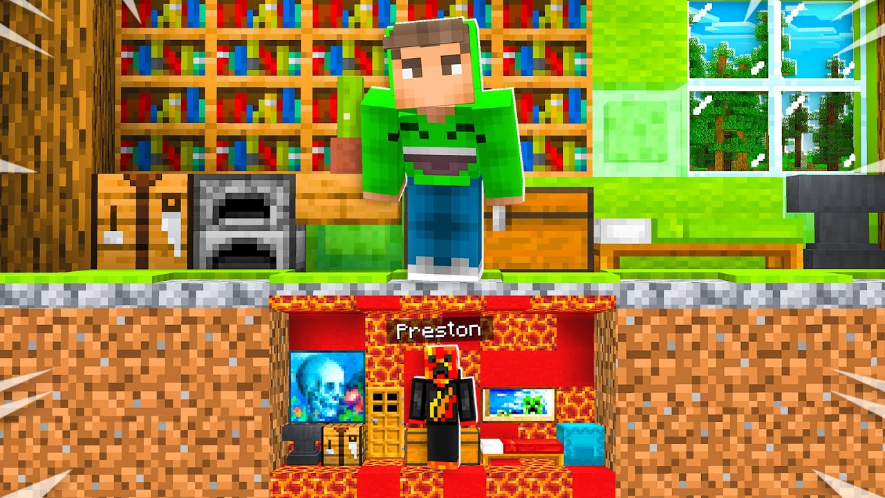 Eu construí uma MINI House sob a Minecraft House da Jelly! + vídeo