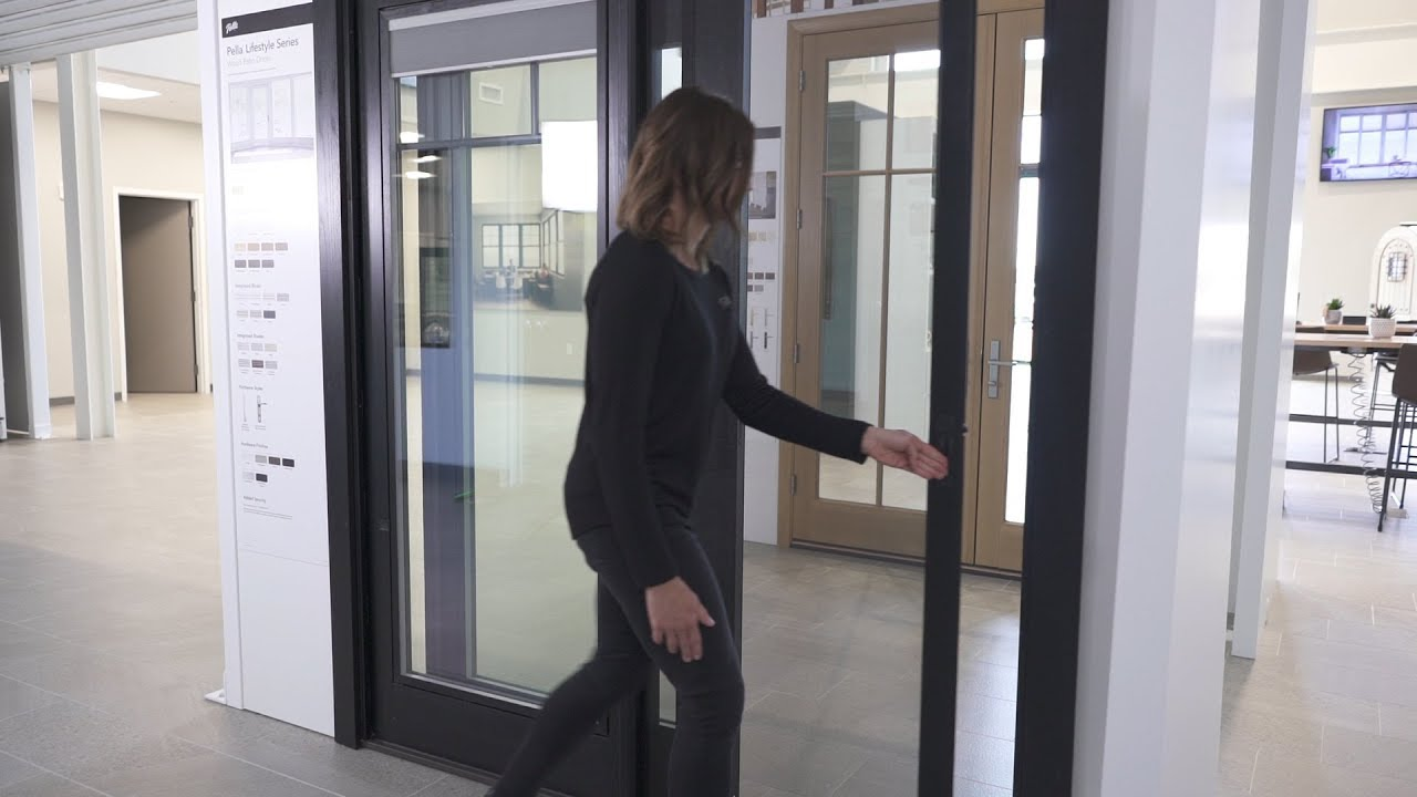 pella lifestyle series sliding patio door with rolscreen