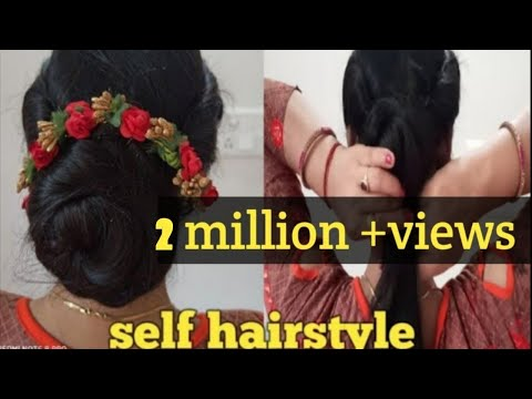 self-juda-hairstyles-for-ladies-#-party-hairstyles-for-saree-#beatiful-hairstyles-#-self-hairstyle