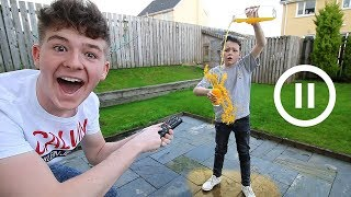 The PAUSE Challenge with LITTLE BROTHER for 24 HOURS!! (FREEZE CHALLENGE)