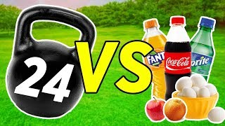 EXPERIMENT: KETTLEBELL vs FOOD - Coca-Cola, Fanta, Sprite, Egg, Apple and more
