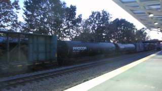Lawrence MA Commuter Rail Station with Amtrak and Freight.