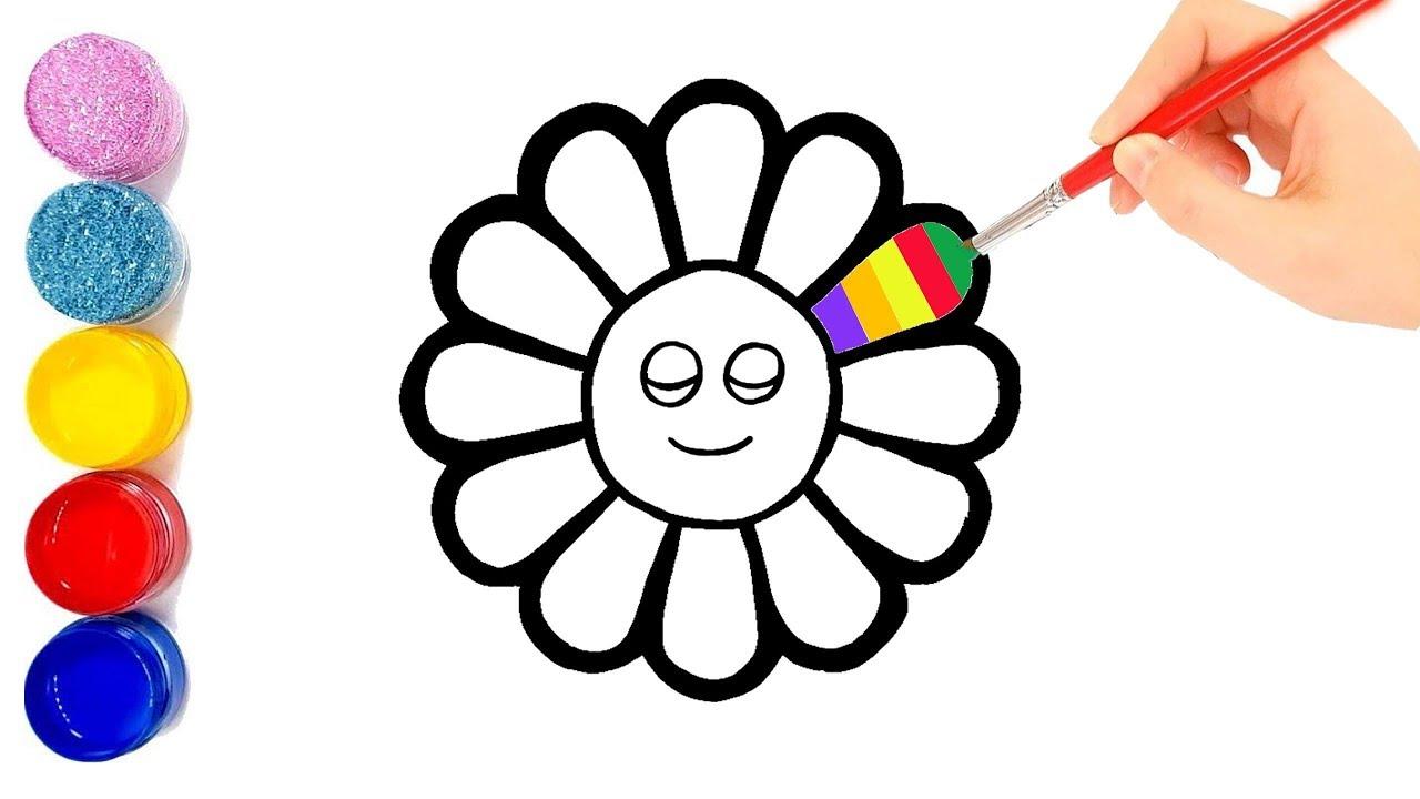 Menggambar Dan Mewarnai Rainbow Sun Flower | Vẽ Tô Màu Hoa Hướng Dương Cầu Vồng